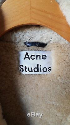 Acne Velocite Shearling Leather Coat Jacket 32 XS Vintage Black & Beige Tan