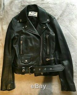 Acne studios black mock leather jacket size 32 preowned
