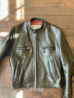 Aero Leather Cafe Racer Jacket Black Sz 40