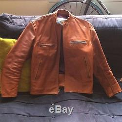 Aero Leather Scotland Tan Heavy Steerhide Cafe Racer Motorcycle Jacket 42