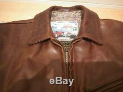 Aero leather 36 horsehide halfbelt leather single motorcycle jacket caferacer