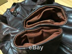 Aero leather 40 horsehide cafe racer Motercycle jacket FQHH brown single