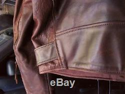 Aero mens brown leather horsehide motorcycle jacket 44