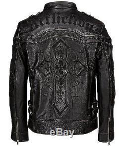 Affliction Easy Rider Moto Premium Leather Jacket Black size XL Limited #914