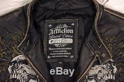 Affliction Mens Shredded Black Leather Motorcycle Jacket Coat size XXL 2XL