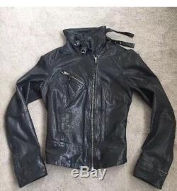 AllSaints Ladies BELVEDERE Black Leather Biker Jacket Fitted Coat High Collar 8