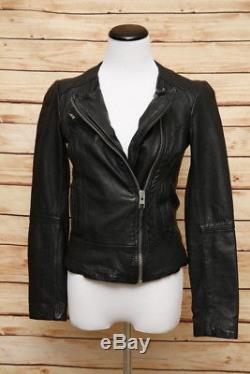 AllSaints Lavine Leather Biker Jacket Black Size 4 UK 8 Motorcycle Jacket