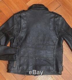 AllSaints Women's Vintage Black Motorcycle AGNES Leather Biker Jacket UK 10