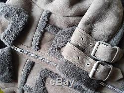 All Saints Asher Shearling Biker aviator jacket Leather sheepskin SIZE SMALL