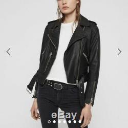 All Saints Black Leather Balfern Biker Jacket Size Uk 10