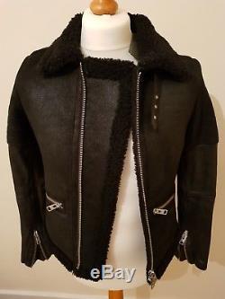 All Saints COEL Sheepskin Leather Aviator Biker Jacket UK8 US4