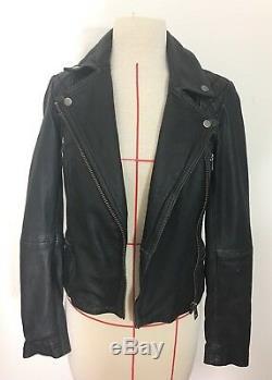 All Saints Cargo Biker Leather Jacket, UK 2, US 00, XS
