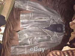 All Saints Cargo Leather Biker Jacket Size 38 M $540 MSRP