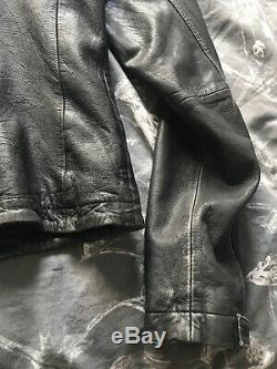 All Saints Cargo Soft Distressed Leather Biker Jacket 12 Black Grey
