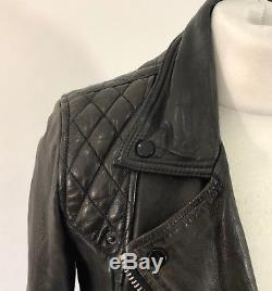 All Saints Dark Brown 100% Leather Quilted CONROY Biker Jacket, Size UK 10