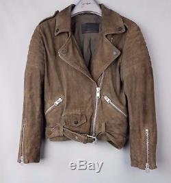 All Saints Hitchen Suede Leather Biker Jacket SIZE UK 8