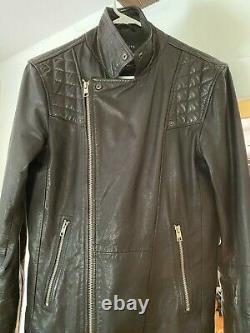 All Saints Kushiro 100% Leather Biker Jacket Black Extra Small- Preowned