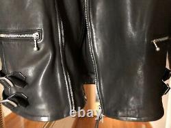 All Saints Men's Black Yuku Leather Biker Jacket Coat Size Small