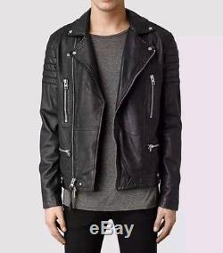 All Saints Men's KANE Black Lambskin Leather Biker Motorcycle Jacket Sz XS $650