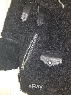 All Saints Oversized Shearling Teddy Biker Jacket Black XSmall XS