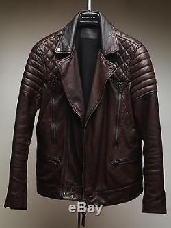 All Saints Powel Oxblood Lamb Leather Jacket S Small Cranleigh