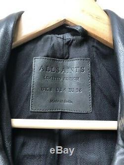All Saints Womens Leather Balfern Biker Jacket Size UK 8 EU 36