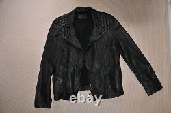 All saints black catch biker leather jacket, size large L, NEW never used