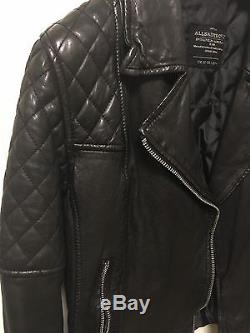 Allsaints All Saints Black Leather Walker Biker Jacket Us 8