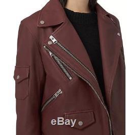Allsaints Harland leather biker jacket. Uk 6(6-8)380. Bordeux red