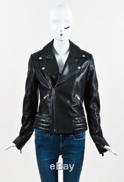 Anine Bing Black Leather Zip Up Long Sleeve Moto Jacket SZ M