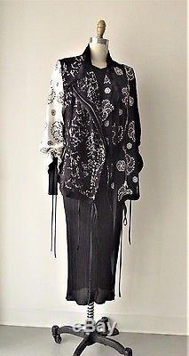 Ann Demeulemeester Embroidered and Laced Silk Drawstring Detailed Jacket Sz 40