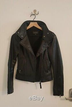 Aritzia Kenya Mackage black leather jacket XXS, barely used, black interior