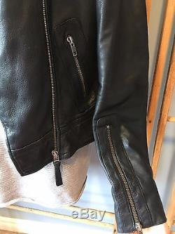 Aritzia MACKAGE Black Leather KENYA Motorcycle Jacket Gingham Skulls, Size S
