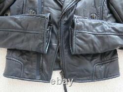 Auth. 2009 BALENCIAGA lambskin leather moto jacket dark navy blue black zips 38