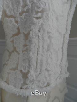 Auth CHANEL 09C White Camellia Illusion with Fantasy Tweed Trim Jacket 38