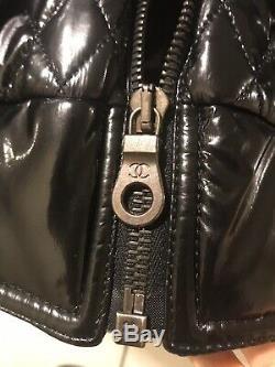 Auth Chanel Black Puffer Nylon Jacket Quilting CC Coat Motorcycle jacket Size 38