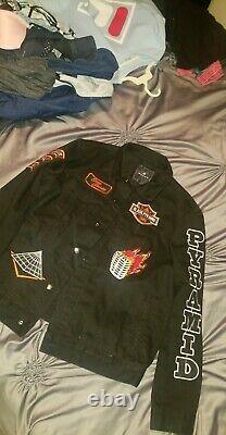 Authentic Black Pyramid Denim Biker Jacket Size X-Large