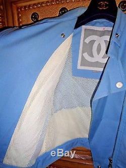 Authentic Chanel Jacket Coat size 40 M/S Logo Moto Cotton Blue