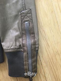 Authentic Diesel Men's Jacket Size Med Medium Grey Leather Used Coat Motorcycle