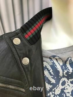 Authentic Gucci leather bomber jacket web