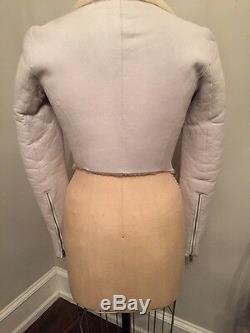 Authentic Helmut Lang White Leather Cream Shearling Cropped Motorcycle Jacket Xs
