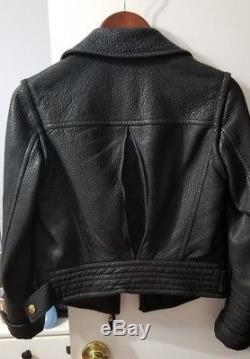 Authentic Louis Vuitton Women's Black Biker Leather Jacket Gold Accent Zippers