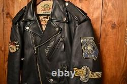 Avirex USA Perfecto Rare Riders Cafe Racer Motorcycle Biker Leather Jacket 44-l