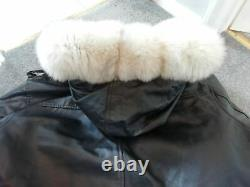 Awesome Reversible Arctic Blue Fox Lined Hooded Leather Coat / Jacket