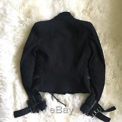 BALMAIN Authentic Black Cotton Double Zip Jacket 34 Small Mint