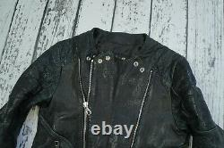 BALMAIN x H&M Black Black Grained Quilted Zippers Biker Leather Jacket EUR 46