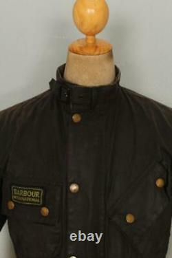 BARBOUR A7 International Suit WAXED Jacket Black Size 34 Small