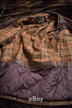 BARBOUR INTERNATIONAL Heritage Leather Jacket, Men's L, $1200, like Belstaff