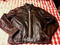 Beautiful Vintage Schott Size 44 Dk Brown Motorcycle Leather Jacket
