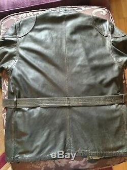 BELSTAFF Thick Leather Jacket 1966 PANTHER Black XXXL Mens Gold Very Rare
